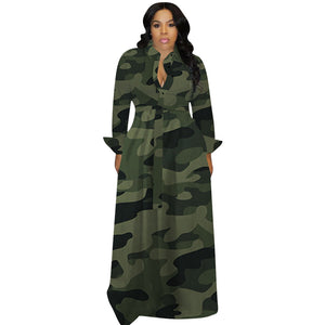 Viladress Camouflage Printing Long Sleeves Maxi Dress