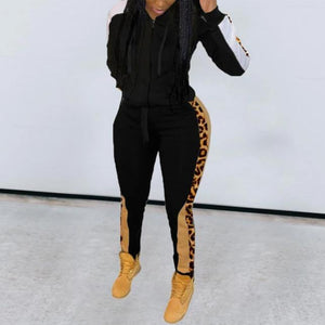 Viladress Hooded Top and Pants Two Pieces Patchwork Sweatsuit
