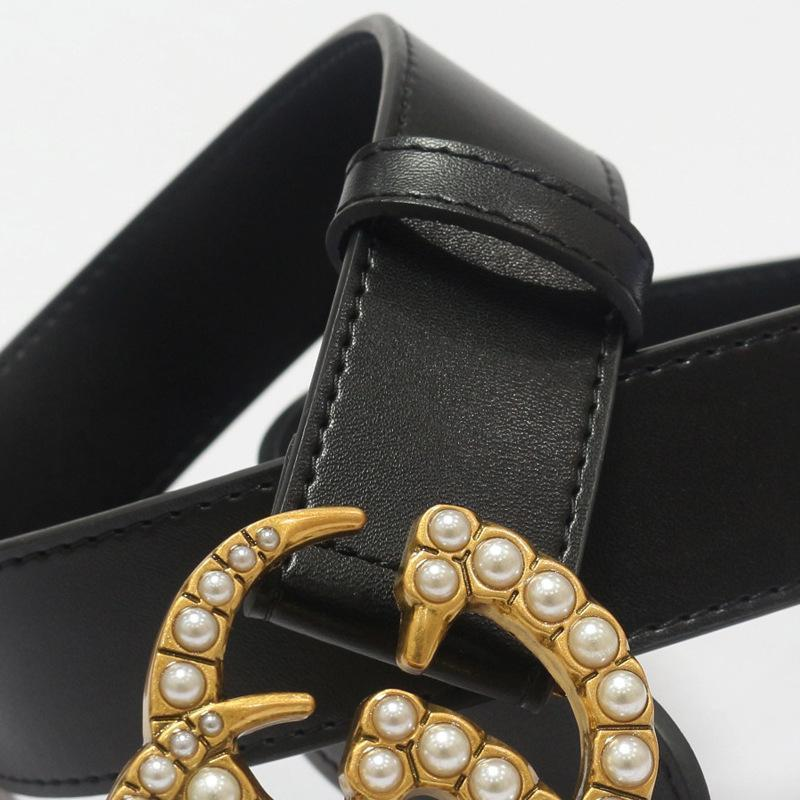 viladress Pearls Decorated Letters Buckle Women Belt Black Belt (Limited sale ended.)