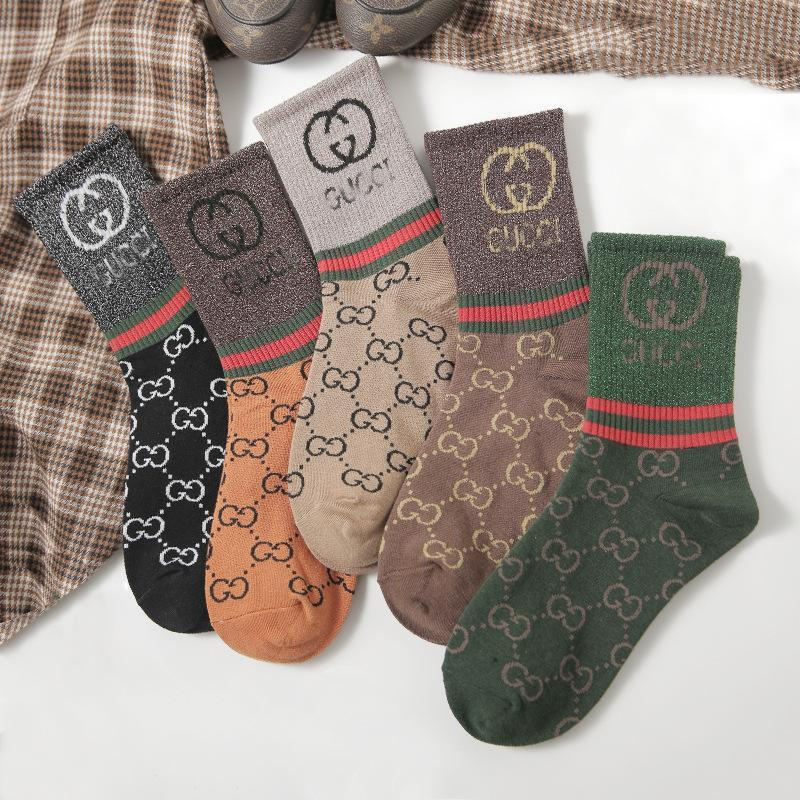 viladress Lettes Printing Women Socks (5 Pairs*2=10 Pairs)