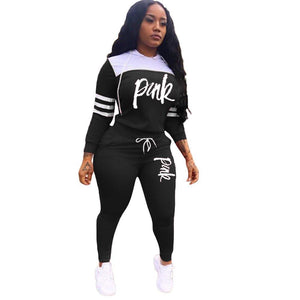 viladress Letters Print Hooded Tops Women Two Pieces Sweatsuit