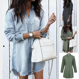 Viladress Denim Shirt Women Shirt Long Shirt