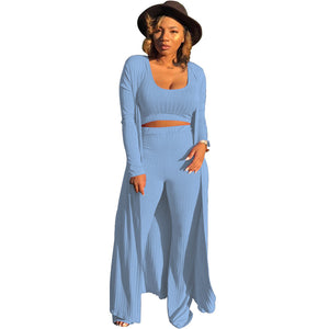Viladress Outerwear+ Crop Tops + Pants Three Pieces Set