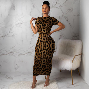 Viladress Fashion Mini dress Leopard Dress Chetah Womne Midi Dress