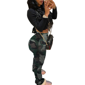Viladress Women Pants Camouflage Printing Pants