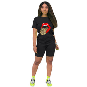 Viladress Lips Printing Leopard Printing women t-shirts and shorts Outift
