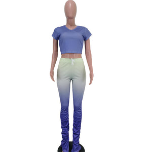 Viladress Gradient Women Outfit Split Pants and Crop Tops Outfit