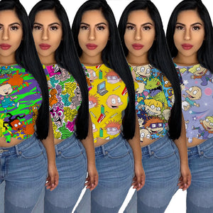 Viladress Multicolor Women Crop Tops Women T-shirt