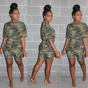 Viladress Camouflage Printing Women T-shirt and Shorts Set