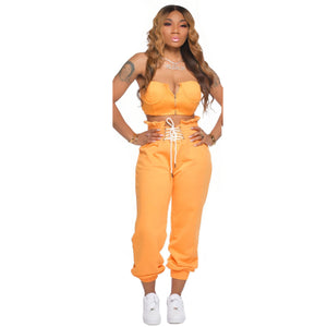 Viladress Chest Wrap and Sweat Pants Two Pieces Outfit