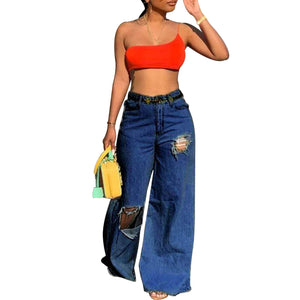 Viladress Broken Hoels Women Jeans Wide Leg Jeans Casual Jeans