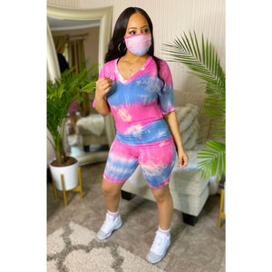 Viladress 2020 Fashion Printing Women T-shirt and Shorts Set(With Face Mask)