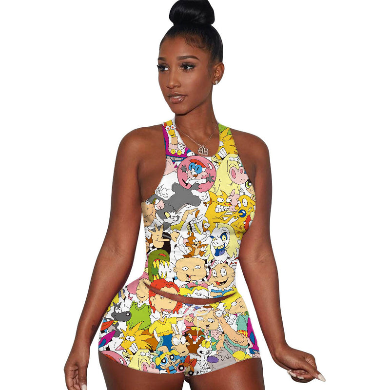 Viladress Multicolor Printing Women Vest and Shorts Set