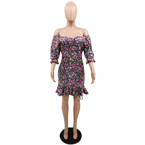 Viladress Floral Printing Women Mini Dress