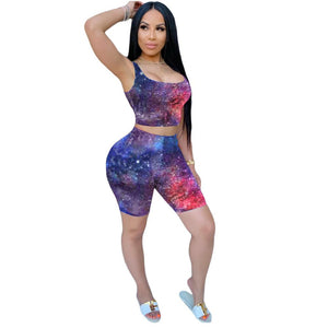 Viladress  Multicolors Printing Women Tank Tops and Shorts Two Pieces Summer Outfit