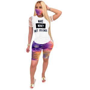 Viladress Hollow out women t-shirts and shorts Set (Without Face Mask)