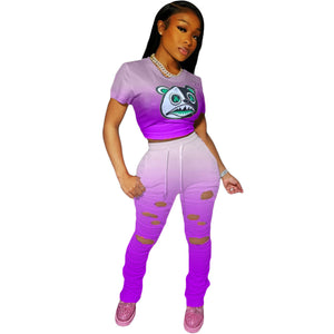 Viladress Amazing Gradient Printing Women Crop Tops and String Broken Holes Sweat Pants