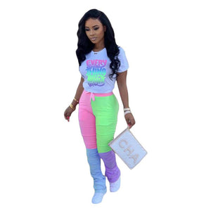 Viladress  Colors Printing Women Sweatsuit Women T-shirts and Sweat Pants Two Pieces Outfits