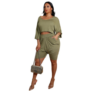 Viladress Women Crop Tops and Shorts Two Pieces Outfits
