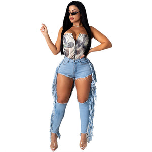 Viladress Women Jeans Broken Holes jeans Tasseled women Jeans