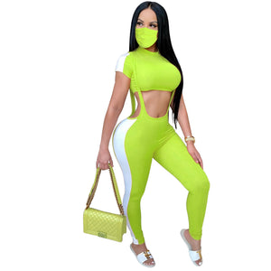 Viladress women Crop Tops and Bandage Pants Two Pieces Sweatsuit Two Pieces Outfit
