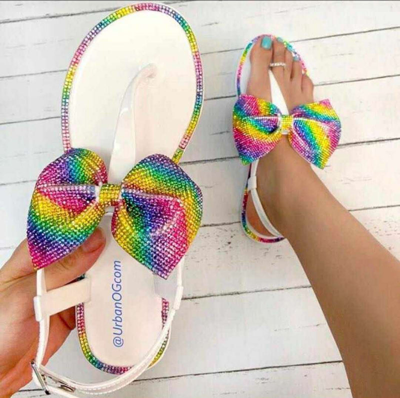 Viladress Colorful Bowknot Cute women sandals Flat Sandals