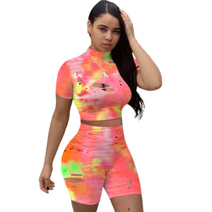 Viladress 2020 Multicolors Printing Women Crop tops and Shorts Two Pieces Shorts Set