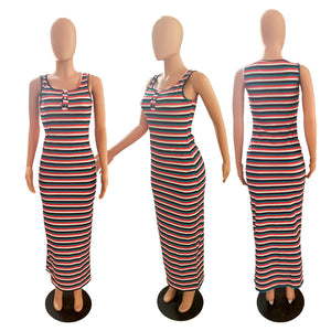Viladress  Women Dress Casual Dress Striped Maxi Dress