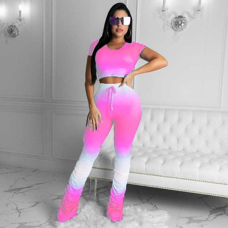 Viladress  Gradient Printing Women Crop Tops and String Pants Outfits