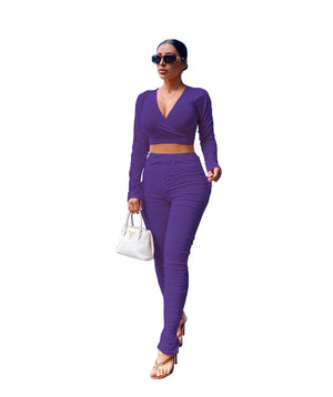 Viladress   V-neck Crop Tops and Women Pants Two Pieces Outfits