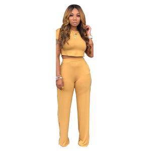 Viladress  Crop T-shirts and Wide Leg Pants Two Peices Women Outfits
