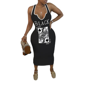 Viladress Midi Dress Black Midi Dress Playing Card Printing Midi Dress