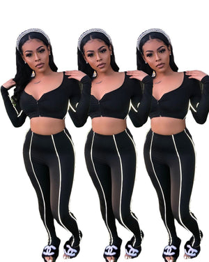 Viladress Women V-neck Crop Tops and Women Pants Two Pieces Outfit
