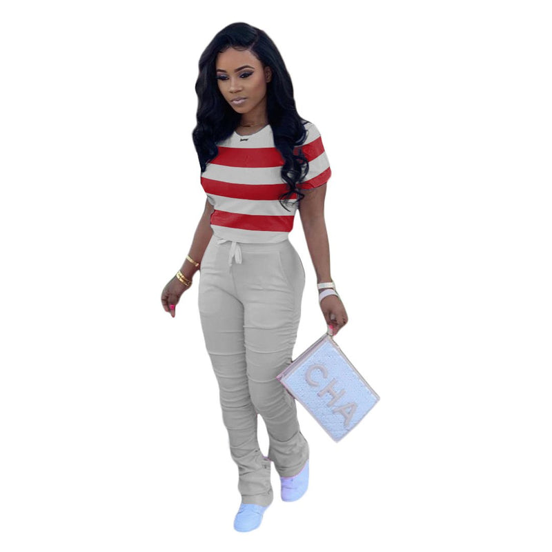 Viladress  Striped Tops and Sweat Pants Two Pieces Sweatsuit