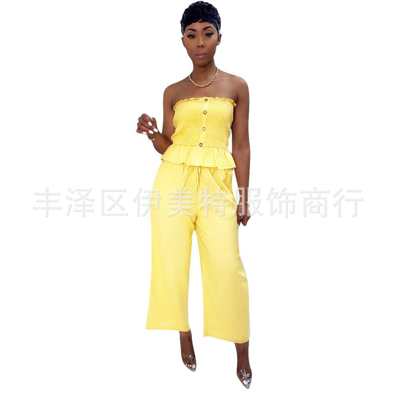 Viladress Women Outfit Crop Tops Strapless Tops Tank Tops and Wide Leg Pants Two Pieces Outfit