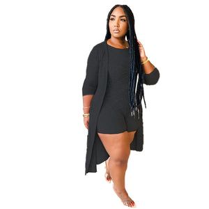 Viladress Woman At-home Two Pieces Suit At-home Grey Romper and Cover Up