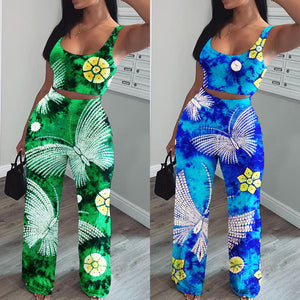 Viladress Colors Printing Outfit Women Tank tops and Wide Leg Pants Two Pieces Outfits
