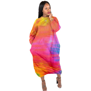 Viladress Colors Printing Women Dress Midi Dress Cocoon Shape Casual dRess