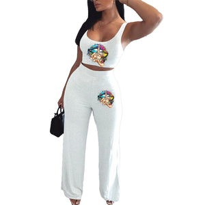 Viladress 2020 Women Tank Tops and Wide Leg Pants Two Pieces Women Outfit