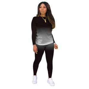 Viladress Gradient Printing Women Hoodie and Sweat Pants Two Pieces Autumn Outfit Sports Outfit