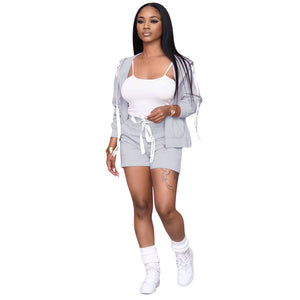 Viladress Women Tank Tops and Women Shorts and Short Cardigan Three Peices Women Outfit US Women Shorts Set