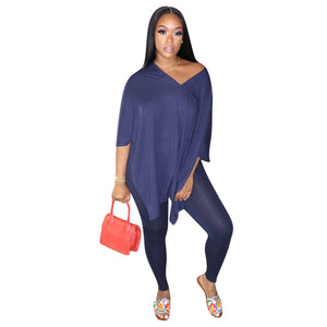 Viladress  2020 V-neck T-shirt and Women pants Two Pieces Outfit