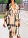 Classic Checked Dress Plaid Sheath Midi Dress