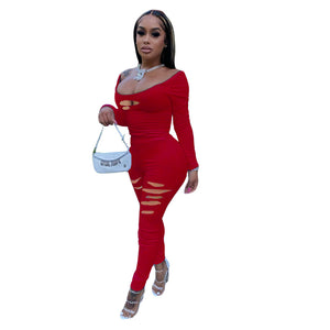 Viladress 2020 Broken Holes Women Jumpsuit Autumn Jumpsuit