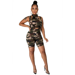 Viladress Crop Tops and Shorts Two Pieces Camo Printing Shorts Set Summer Outfit