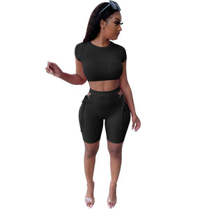 Viladress 2020 Women Crop Tops and shorts two Pieces Outfit Bandage Shorts Set
