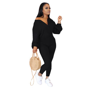 Viladress Women Jumpsuit Casual Jumpsuit V-neck Puff Sleeves Jumpsuit