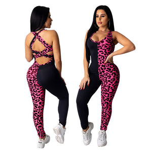 Viladress Leopard Patchwork Women Jumpsuit Backless Jumpsuit