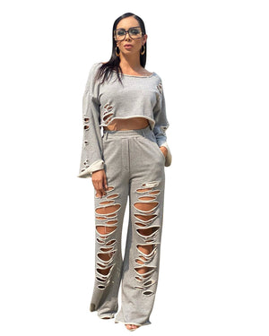 Viladress 2020 Autumn Women Crop Tops and Broken Holes Pants Two Pieces Outfit