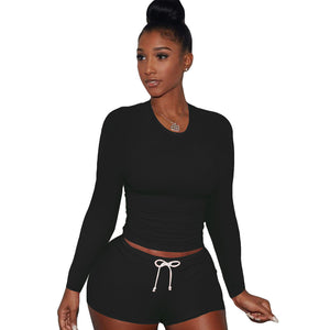 Viladress 2020 Autumn T-shirt and String Shorts Two Pieces Shorts Set Two PIeces Outfit